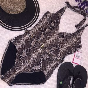 Vince Camuto Sexy Wrap Python Belted Swimsuit 10